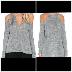 MinkPink Gray Revolution Cold Shoulder Top size XS